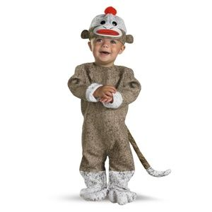 NWT Disguise Too Cute to Spook Sock Monkey Costume